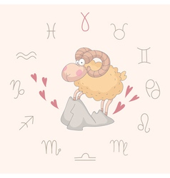 Cartoon of the ram Aries vector image