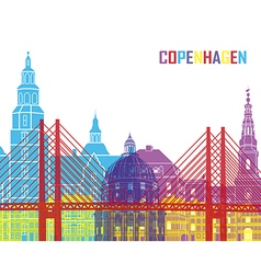 Copenhagen skyline pop vector