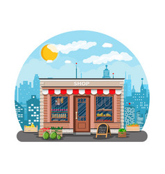 daily products shop in city vector image