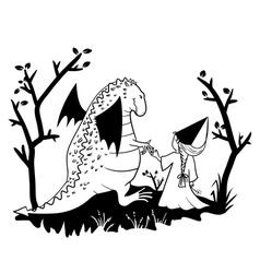 dragon and princess vector image