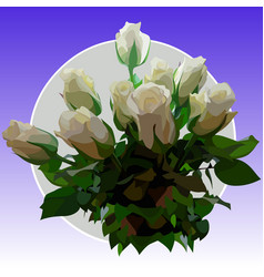 Drawn bouquet of white roses vector