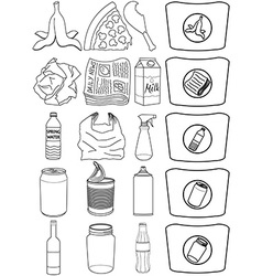 Food Bottles Cans Paper Trash Recycle Pack Lineart vector image