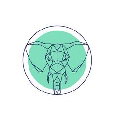 Geometric animal head elephant outline vector
