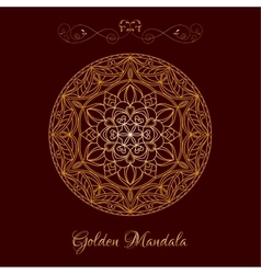 Gold color mandala over dark brown vector