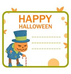 halloween pumpkin monster card vector image