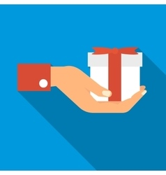 Hand holding a gift icon flat style vector image
