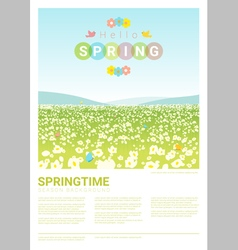 Hello spring landscape background 3 vector image