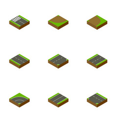 Isometric road set of rotation turn down and vector