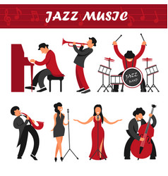 jazz music band musicians and singers performer vector image vector image