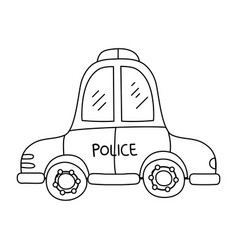 line emergency police car transport with siren vector image vector image