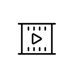 line filmstrip video icon on white background vector image vector image