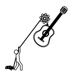 Silhouette worker with pulley holding acoustic vector