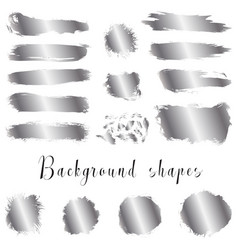 Silver ink borders brush strokes stains banners vector