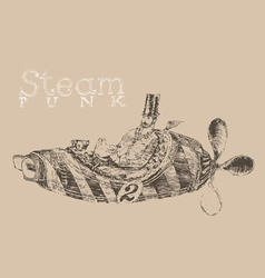 Steam punk aircraft engraving style vector