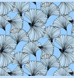 summer beach pattern blue ginkgo leaves vector image vector image