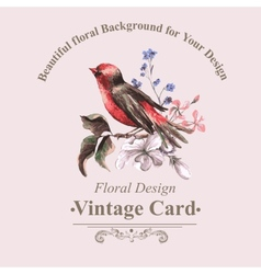 Vintage floral card with bird on branch vector