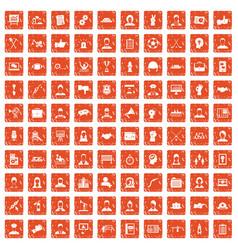 100 team work icons set grunge orange vector