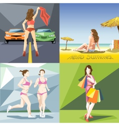 Digital girl and woman at the beach vector