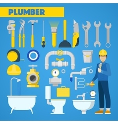 Plumber worker with tools set and bathroom vector
