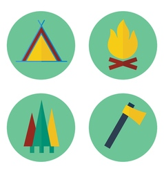 Set of camping iconsprint vector