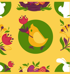 Easter pattern paschal eggs bunny and chick vector