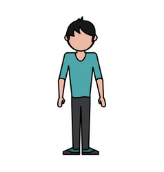 Colorful caricature image faceless man casual suit vector