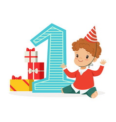 happy baby boy celebrating his first birthday vector image