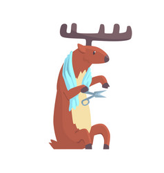 Cute cartoon deer cutting his nails colorful vector