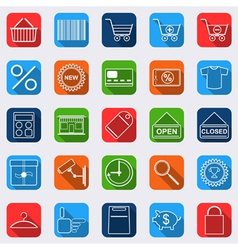 Shopping flat icons vector