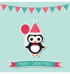 Christmas card with a penguin vector