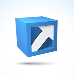 3d cube logo with arrow vector