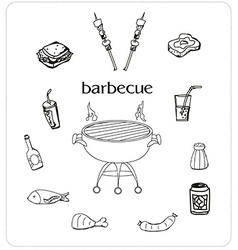 Barbecue icon doodle set vector