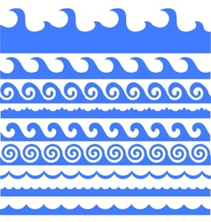 Sea waves set vector