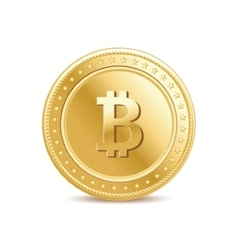 Realistic golden isolated bitcoin coin vector