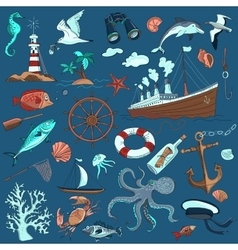 colored hand-drawn elements of marine theme vector image