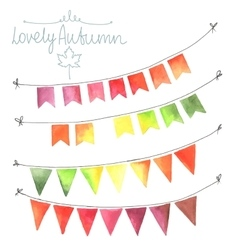 Watercolor flags garlands set vector