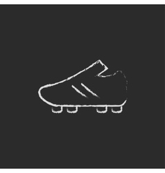 Football boot icon drawn in chalk vector