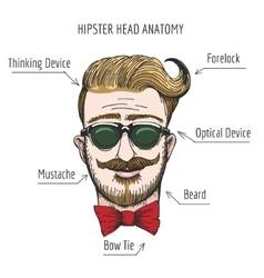 Hipster head anatomy vector