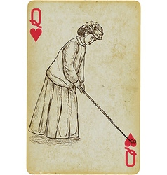 Playing card queen - vintage golfer an woman vector