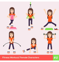 Exercises Carachters Women 2 vector image