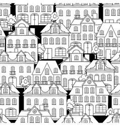 Seamless pattern with houses and trees vector
