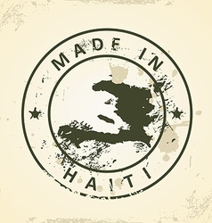Stamp with map of haiti vector