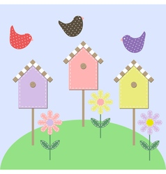 Birds over the starling houses vector