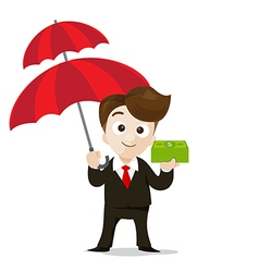 Business protection concept business man cartoon vector