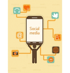 smartphone with social icons vector image