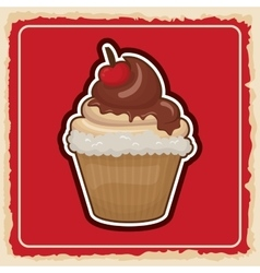 Cupcake icon sweet food product graphic vector