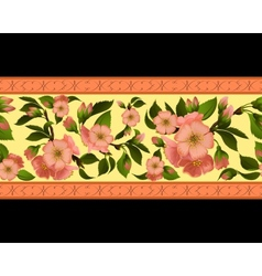 Seamless border with spring flowers vector