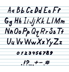 Alphabet and other symbols handwritten by ink vector