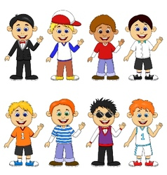 Boy cartoon collection set vector image