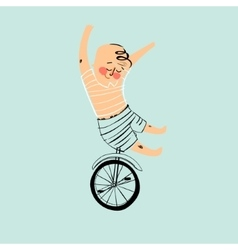 Boy riding an unicykle vector image vector image